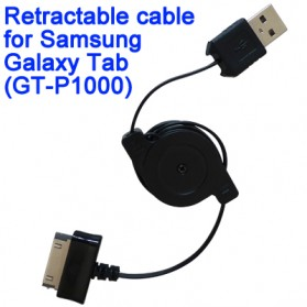 Samsung Retractable 30 Pin to USB Cable Adapter for Samsung Galaxy Tab - Black