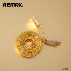 Remax Gold Lightning Braided Cable for iPhone 5/6/7/8/X - Golden