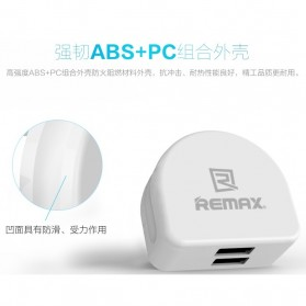 Remax Crescent Moon Series Dual USB Adapter Charger EU Plug 2.1A - White