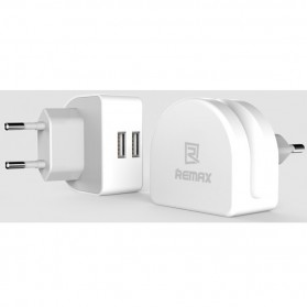 Remax Crescent Moon Series Dual USB Adapter Charger EU Plug 2.1A - White - 2