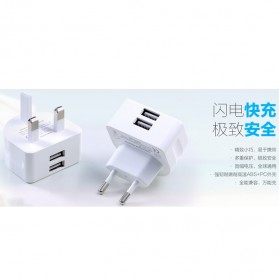 Remax Crescent Moon Series Dual USB Adapter Charger EU Plug 2.1A - White - 3