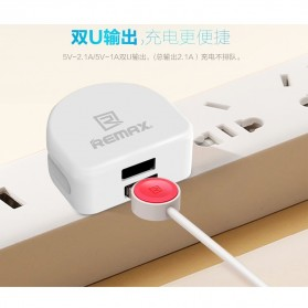Remax Crescent Moon Series Dual USB Adapter Charger EU Plug 2.1A - White - 5