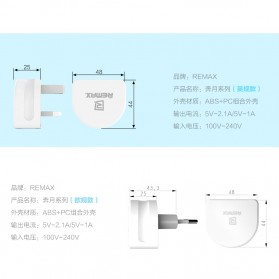 Remax Crescent Moon Series Dual USB Adapter Charger EU Plug 2.1A - White - 7