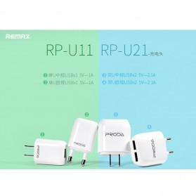 Remax U11 Home Adapter USB Charger EU Plug 1.0A with Micro USB Cable - White - 4