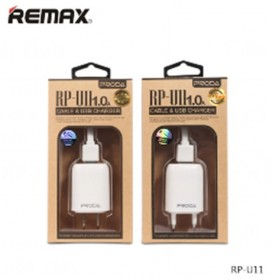 Remax U11 Home Adapter USB Charger EU Plug 1.0A with Micro USB Cable - White - 5