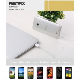 Remax Fast Charging Micro USB Cable for Smartphone - White - 5