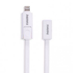 Remax Transformer High Speed Double Sided Micro Usb / Lightning Pin for Smartphone and iPhone 5/6/7/8/X - White