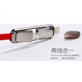 Remax Transformer King Kong High Speed Double Sided Micro Usb / Lightning Pin for Smartphone and iPhone 5/6/7/8/X - White - 5