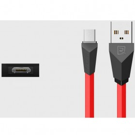Remax Alien Fast Charging Micro USB Cable for Smartphone - RC-030 - Black/Red - 7