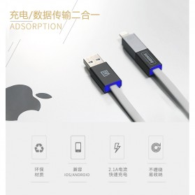Remax Shadow Magnet 2 in 1 Micro USB / Lightning Pin for Smartphone and iPhone 5/6/7/8/X - RC-026t - Golden - 2