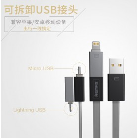 Remax Shadow Magnet 2 in 1 Micro USB / Lightning Pin for Smartphone and iPhone 5/6/7/8/X - RC-026t - Golden - 7