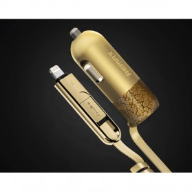 Remax Finchy Car Charger 2 in 1 Micro USB Lightning 3.4A  - RC-C103 - Golden