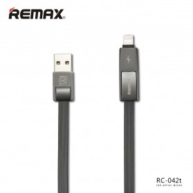 Remax Strive High Speed 2 in 1 Micro Usb / Lightning Pin Cable for Smartphone and iPhone 5/6/7/8/X - RC-042t - Black