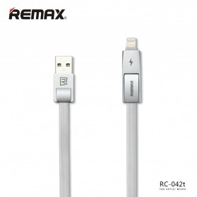 Remax Strive High Speed 2 in 1 Micro Usb / Lightning Pin Cable for Smartphone and iPhone 5/6/7/8/X - RC-042t - White