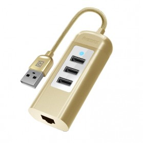 Remax Cati LAN Adapter with 3 Ports USB HUB - RU-U4 - Golden