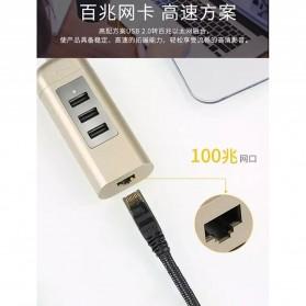 Remax Cati LAN Adapter with 3 Ports USB HUB - RU-U4 - Golden - 4