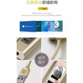 Remax Cati LAN Adapter with 3 Ports USB HUB - RU-U4 - Golden - 6