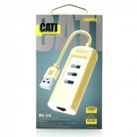 Remax Cati LAN Adapter with 3 Ports USB HUB - RU-U4 - Golden - 10