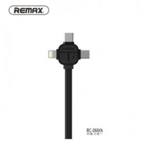 Remax Lesu 3 in 1 Lightning Micro USB & USB Type C Charging Cable 1m - RC-066th - Black