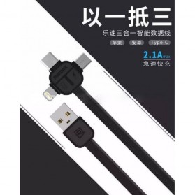 Remax Lesu 3 in 1 Lightning Micro USB & USB Type C Charging Cable 1m - RC-066th - Black - 3