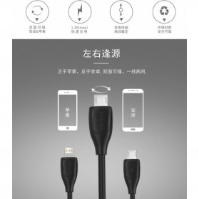 Remax Lesu 2 in 1 Lightning Micro USB Data Cable for iPhone - RC-050t - Black - 5