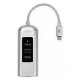 Remax Cati LAN Adapter USB Type C with 3 Ports USB HUB - RU-U4 - Silver