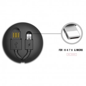 Remax Cutebaby Kabel Micro USB Lightning Retracable - RC-099T - Black