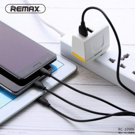 Remax Suda Kabel Charger 3 in 1 Micro USB + Lightning + USB Type-C - RC-109th - Black - 3