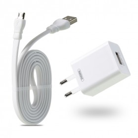 Remax Adapter USB Charger EU Plug 2.4A with Micro USB Cable - RP-U14 - White