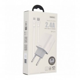 Remax Adapter USB Charger EU Plug 2.4A with Lightning - RP-U14 - White - 3