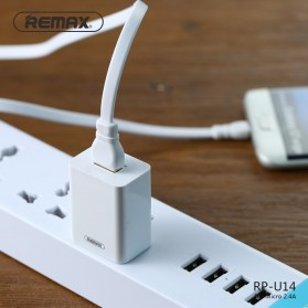Remax Adapter USB Charger EU Plug 2.4A with Lightning - RP-U14 - White - 7