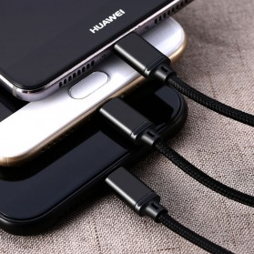 Remax Gition 3 in 1 Kabel Charger Lightning + Micro + USB Type C 2.8A 1 Meter - RC-131th - Black - 2