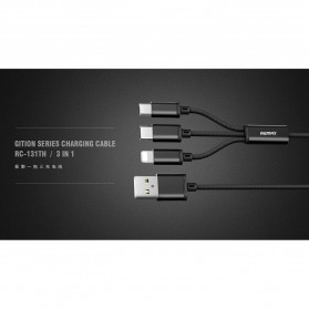 Remax Gition 3 in 1 Kabel Charger Lightning + Micro + USB Type C 2.8A 1 Meter - RC-131th - Black - 4
