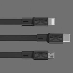 Remax Proda Fons Series Kabel Charger Micro USB Noodle 2.1A 1 Meter - PD-B18m - Black - 6