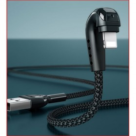 Remax Heymanba Kabel Charger USB Type C L Shape 3A 1 Meter - RC-097a - Black - 3