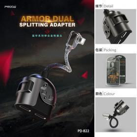 Remax Proda Armor Series Kabel Splitter 2 in 1 Lightning to 2xLightning 2A - PD-B22 - Black - 5