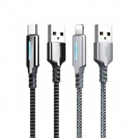 Remax Gonyu Kabel Charger USB Type C Braided 2.4A 1 Meter - RC-123a - Black - 3