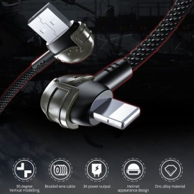 Proda Kabel Charger USB Type C Braided L Shape 1 Meter Model Helm PUBG - PD-B42a - Black - 3