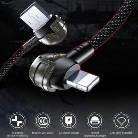 Proda Kabel Charger Micro USB Braided L Shape 1 Meter Model Helm PUBG - PD-B42m - Black - 3