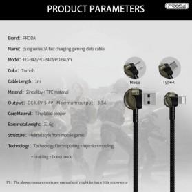 Proda Kabel Charger Micro USB Braided L Shape 1 Meter Model Helm PUBG - PD-B42m - Black - 4