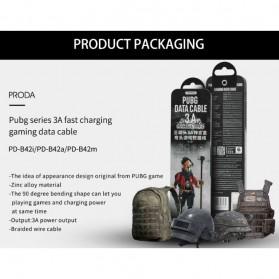 Proda Kabel Charger Micro USB Braided L Shape 1 Meter Model Helm PUBG - PD-B42m - Black - 5