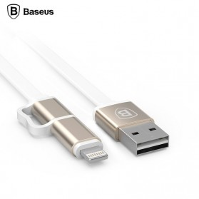 Baseus Dual-Port Pro Series 2 in 1 Micro USB & Lightning Metal Head USB Cable (ORIGINAL) - Golden
