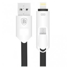 Baseus 2 in 1 Micro USB & Lightning USB Cable 1 Meter - Black