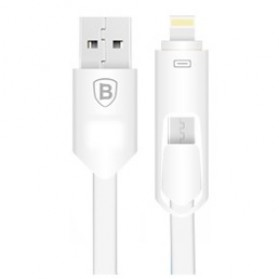 Baseus 2 in 1 Micro USB & Lightning USB Cable 1 Meter - White