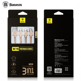 Baseus 3 in 1 Micro USB & 2 Lightning USB Cable 1.2 Meter - Golden - 5