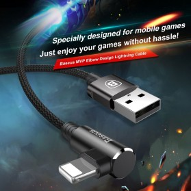 Baseus MVP L Shape Kabel Charger Lightning 1.5A 2 Meter - Black - 2