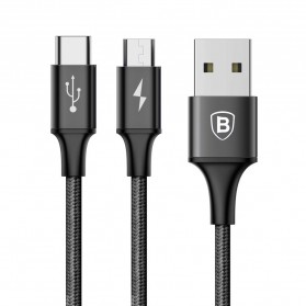 Baseus Rapid Series 2 in 1 Kabel Micro USB + USB Type C 3A 1.2 Meter - Black - 2