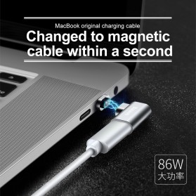 Baseus Adapter Kabel Charger Magnetic USB Type C Elbow L Shape - CATCX-0G - Silver - 2