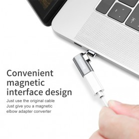 Baseus Adapter Kabel Charger Magnetic USB Type C Elbow L Shape - CATCX-0G - Silver - 3
