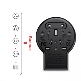 Baseus Universal Travel Adapter Charger dengan 2 USB Ports - ACCHZ-01 - Black - 2